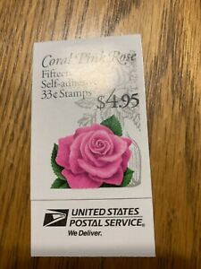 Scott 3052 BK242B Booklet of 15 .33 cent Coral Pink Rose Issue