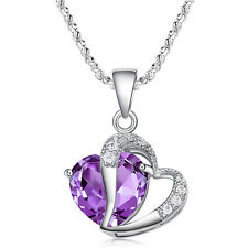 Purple Angel Heart Swarovski Crystal Pendant 925 Sterling Silver Love Necklace