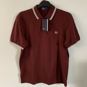 FRED PERRY Mens Twin Tipped Polo Shirts M3600 Stadium Red White Size Large