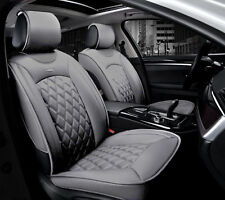 Deluxe Grey PU Leather Front Seat Covers Padded For Honda Civic Accord CR-V