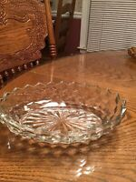 FOSTORIA AMERICAN CLEAR GLASS 9 INCH OVAL BOWL CUBE DESIGN 91/2""