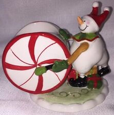 Yankee Candle Circus Snowman with Peppermint Wheel Drum Christmas Candle Holder