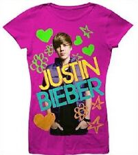 Justin BIEBER Cute Haircut Fushia Pink s/s Shirt Girl's 10/12 NeW Short Sleeve