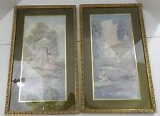 VINTAGE SET OF 2 BALLET PICTURES WITH GREEN FELT MATS AND GOLD DECORATIVE FRAMES