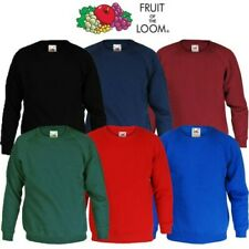 Boys Girls Sweatshirt Fruit of Loom Jumper School Uniform Long Sleeve Cotton
