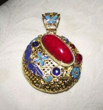 Oriental Cloisonne Pendant Gold Blues Large Red Stone & Other Stones(Uk Seller)