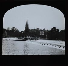 c1890s Magic Lantern Slide Photo View On The River Thames Marlow Weir