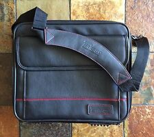 TARGAS BLACK LEATHER LAPTOP CARRY-CASE/BAG