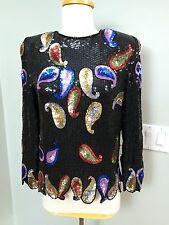 Vtg Sequin Top Sz S Silk Multi Color Paisley Hook Back Shoulder Pads