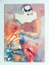 Vintage ABSTRACT EXPRESSIONIST PAINTING MID CENTURY MODERN Listed NY ASL