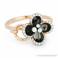 Right-Hand Flower Ring 14k Rose Gold 0.18ct Round Brilliant Cut Diamond & Enamel