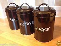 Tea Coffee Sugar Canisters Storage Kitchen Jars BLACK 3 enamel storage tins