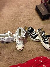 Womens Studded Converse High Tops White Chuck Taylors Shoes Size 5, 6, 7, 8, 9