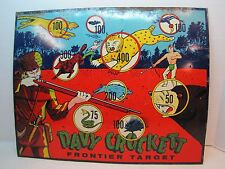 Vintage DAVY CROCKETT Tin Frontier Target great old litho Indians w Spears Bears