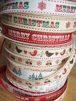 16mm Berties bows Christmas grosgrain ribbon - per 2m - snowflakes, trees etc