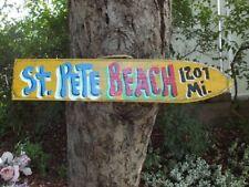 ST PETE BEACH - TROPICAL DIRECTIONAL DESTINATION ARROW TIKI ISLAND POINTER SIGN