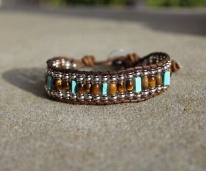Men's Tiger Eye, Turquoise and silver Beaded Brown Leather Bracelet