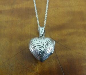 Locket Heart Dainty chased Sterling Silver 925 Pendant Chain NECKLACE