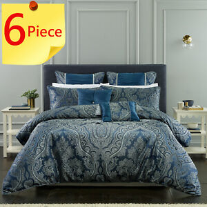 Clementine Navy 6 Piece Pack Quilt Cover Set by Bianca Elegance | Super King