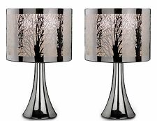 New Pair of 2 Silver Chrome Tree Scene Dimmer Touch Table Lamp Lights Bedside