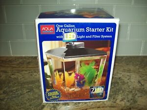 Aqua Culture One Gallon Aquarium Starter Kit with LED Light and Internal Filter