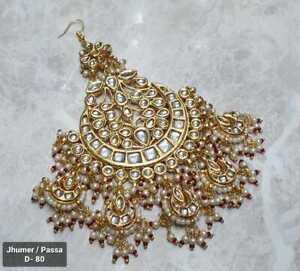 Indian Kundan Gold Plated Bridal Jhoomar Passa Bollywood Head Jewelry Pearls New
