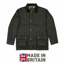 Mens Wax Jacket Coat 100% Waxed Cotton Check Stripe Tartan Corduroy S M L XL XXL