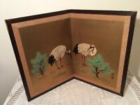 """Chinese Bifold Table Screen with Hand Painted Cranes,  17"""" x 24"""""""