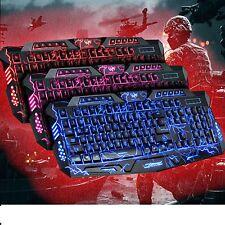 Iluminado Luz De Fondo Azul Rojo Teclado Multimedia USB con Cable Videojuegos Reino Unido Reino Unido Layout