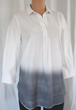 PIAZZA SEMPIONE WHITE/DIE GRAY  COLLAR/V-NECK TOP/TUNIC SZ 44 MADE IN ITALY