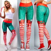 Womens Yoga Fitness Leggings Sports Pants Gym 3D Printed Christmas Trousers LC