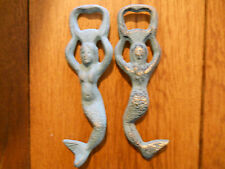 6 Cast Iron MERMAID Bottle openers, Sea Blue Nautical opener Beer / Soda Opener