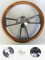 "60-73 All VW Volkswagen Oak Wood and Billet Steering Wheel 14"" plain cap"