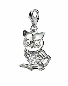 Silver Solid 925 Owl Clip On Charm Pendant For Branded Charms Bracelet  A20C