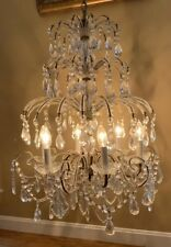 Antique French Italian Crystal Micro Macaroni Beaded Girandole Chandelier