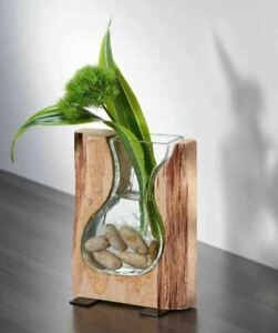 Giftcraft Earth Artisan Wood & Glass Vase