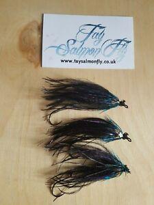 3x Black Ostrich Intruder Salmon Steelhead Fishing Flies