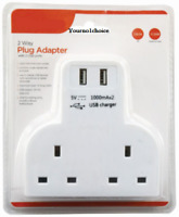 2 Way Gang Multi Plug Extension With 2 USB Charge Ports Wall Mains Adaptor 4 Way