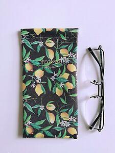 Faux Leather Sunglass Eyeglasses Glasses Snap Shut Soft Pouch - Lemons