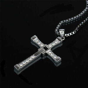 MENS SILVER CROSS CHAIN NECKLACE PENDANT BLING JEWELLERY UK
