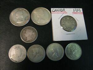 1872-H~1903~1919~1920~1960 CANADA SILVER QUARTER~1961~1965 CANADA SILVER HALVES!