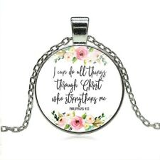 Philippians 4:13 I can do all things through Christ Bible Verse Necklace