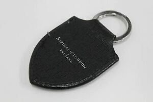 ASPINAL OF LONDON Leather Saffiano Black Shield Pre-Personalised Fob Keyring NEW