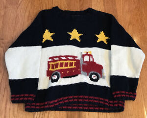 Mollygoggles Fire Truck cotton Sweater Boys 4 / 5 handmade Peru stars striped