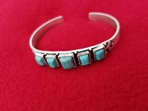 """NATURAL STONE """"C"""" CUFF TURQUOISE BRACELET   *NWT*"""
