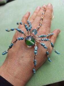 Unique SPIDER SUN CATCHER Glass Vintage Bead Copper Wire Hand Crafted in Devon