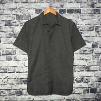 Lululemon Men's Short Sleeve button up Shirt Gray w/ Side Pockets Fits Sz Large