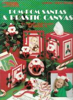 Pom Pom Santas & Plastic Canvas Leisure Arts 1394 Frame Tissue Box & More 1992