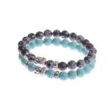2Pcs/Set Couples Bracelet for Men Women Charm Stone Buddha Beaded Bracelets Gift