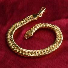 Yellow Gold Bracelet Bangle Chain Fashion Women Men Punk Jewelry
